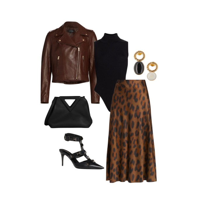 Leather jacket with leopard midi skirt and accessories