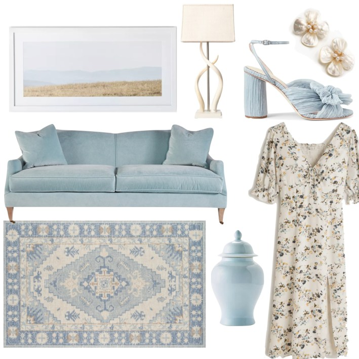 fashion edit couch rug vase lamp picture floral abercrombie and fitch dress sandals and hazen & co earrings