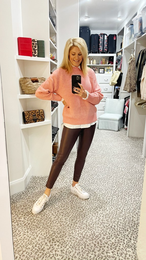 tanya foster in raglan sweater and hi lo tunic converse sneakers and faux leather leggings