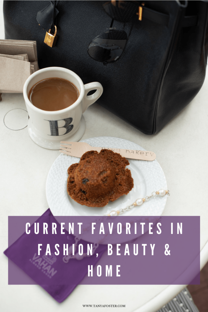 mid-week musings current favorite in fashion, beauty & home cup of coffee with a muffin bird bakery