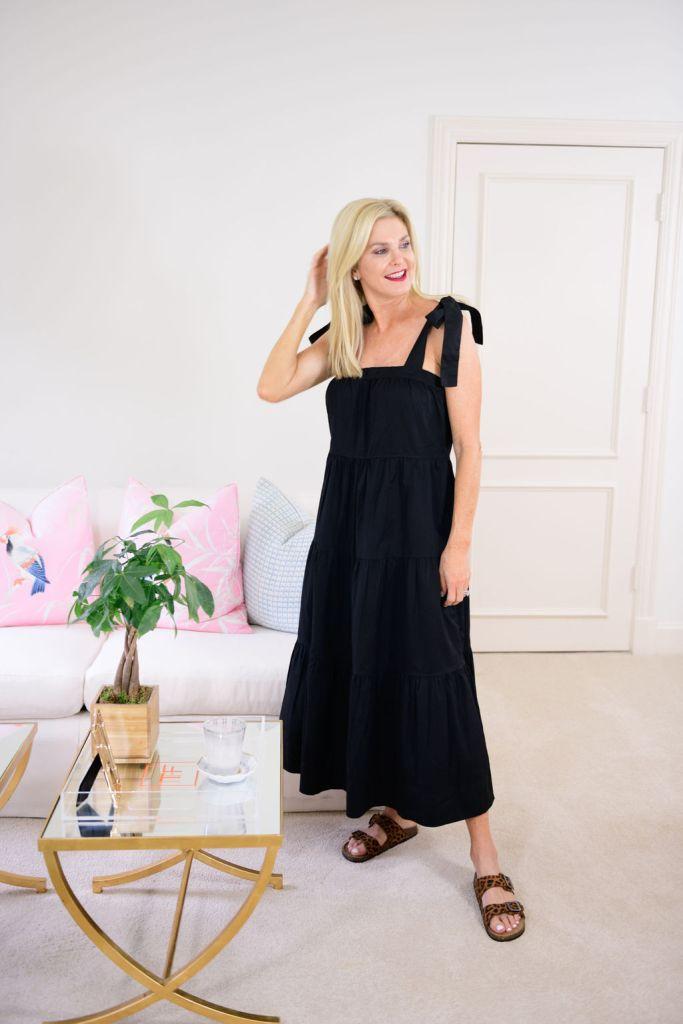 Tanya foster wearing walmart fashion dress and sandals