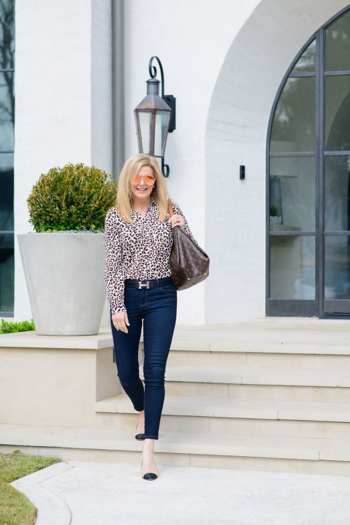 Tanya Foster in Talbots animal print top and Mott & Bow jeans