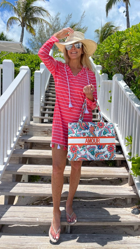 Tanya Foster wearing cabana life cover up with avara tote bag