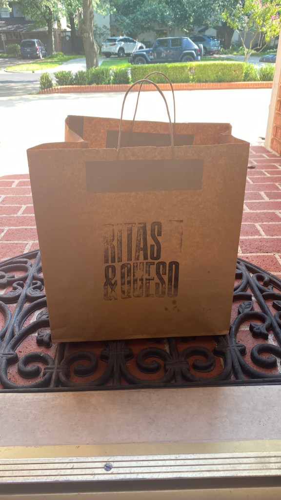 Ritas & Queso bag delivered at the door