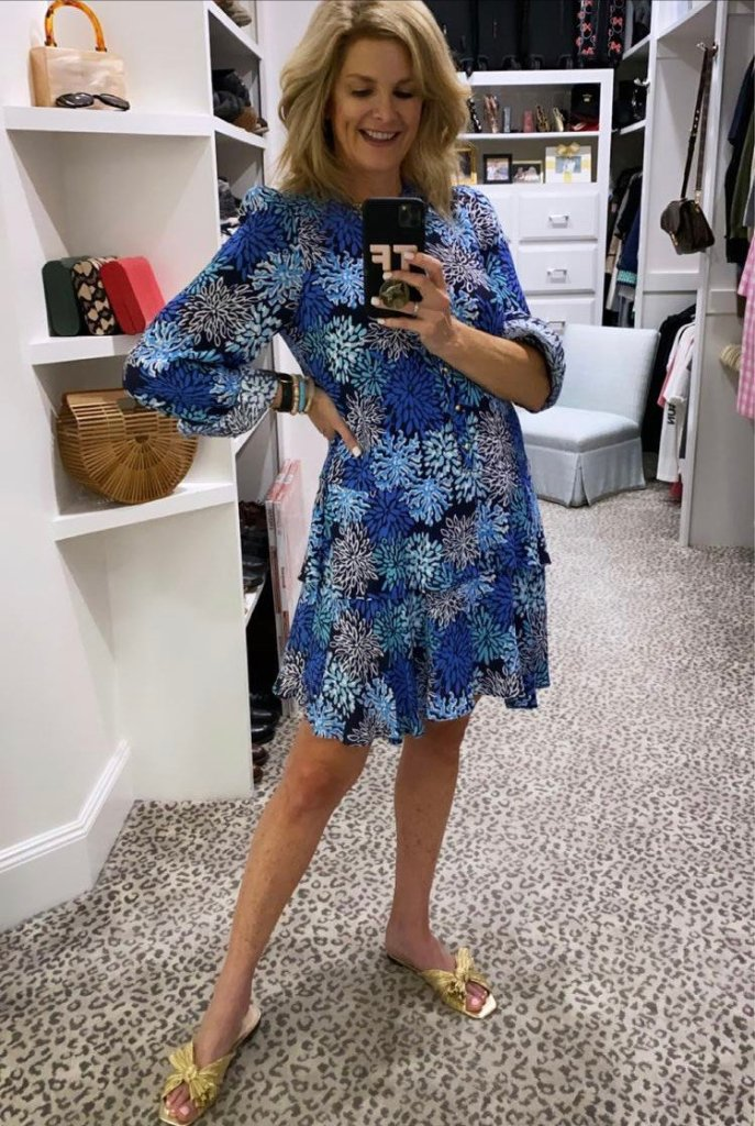 Tanya Foster in sail to sable long sleeve flutter dress