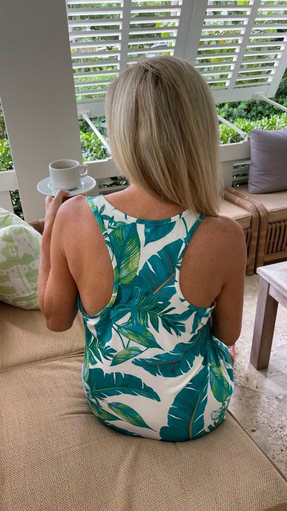 Tanya Foster wearing palm print soma sleepshirt