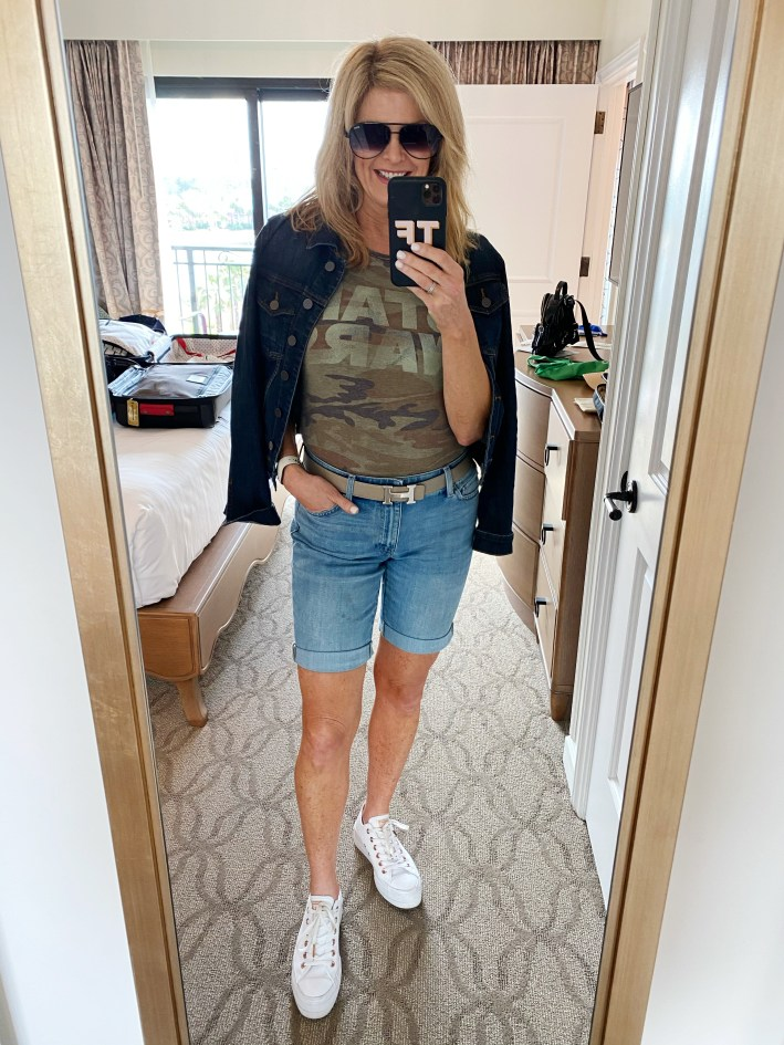 Tanya Foster in talbots jean short star wars graphic tee and a jean jacket