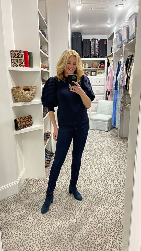tanya foster wearing sail to sable puff sleeve sweater veronica beard skinny jeans and cecelia ny suede ankle booties