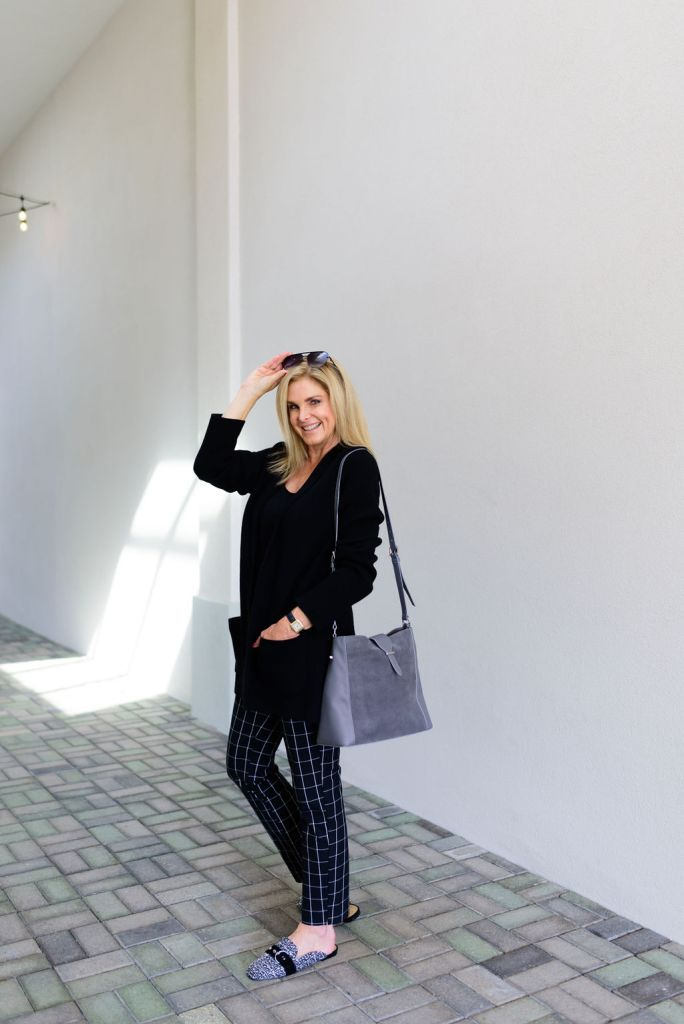 Tanya Foster in Talbots plaid dress pants, sweater blazer, crossbody bag and slides