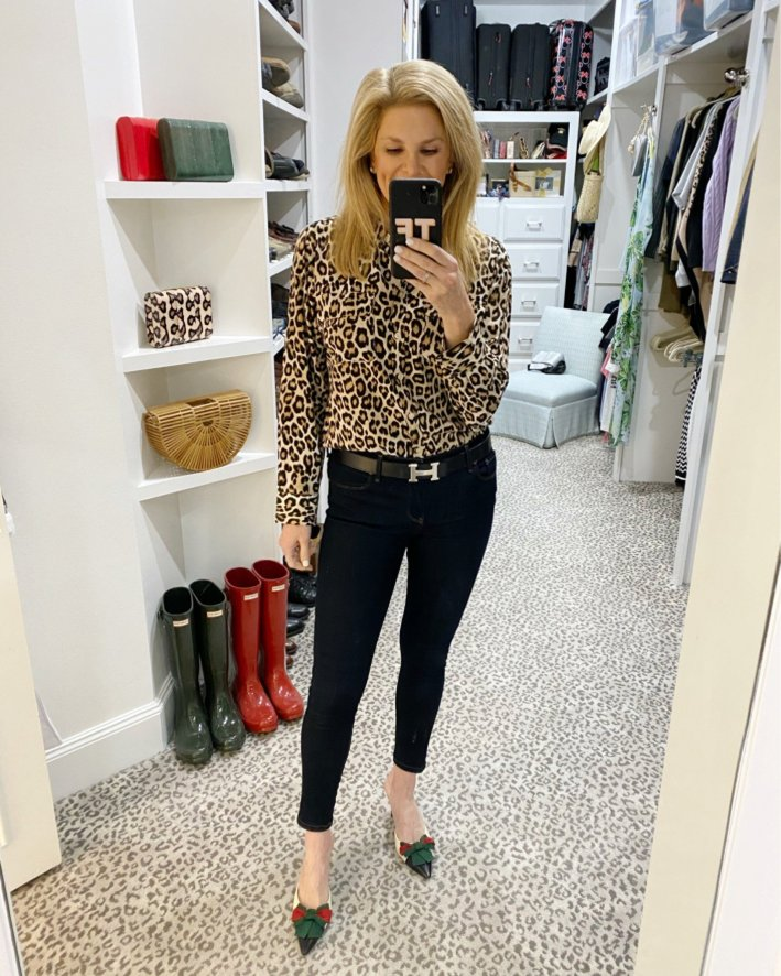 tanya foster in talbots animal print blouse jeans and gucci heels