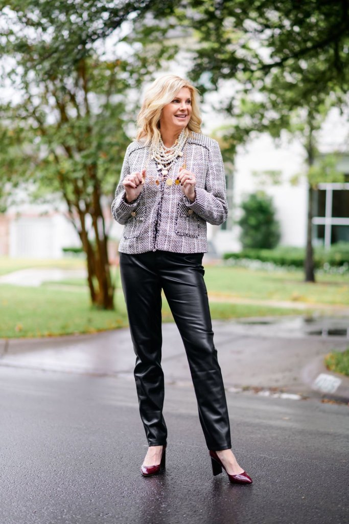 Tanya foster in chico's blouse and tweed jacket faux leather pants with m. gemi croc heels