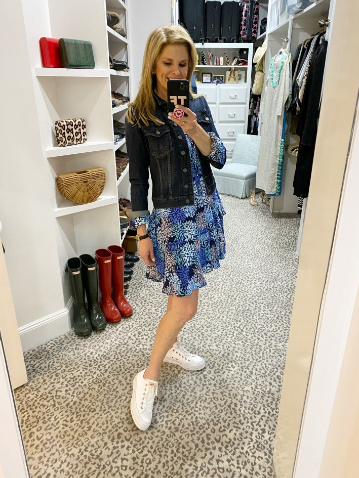 tanya foster in a sail to sable dress jean jacket and sneakers