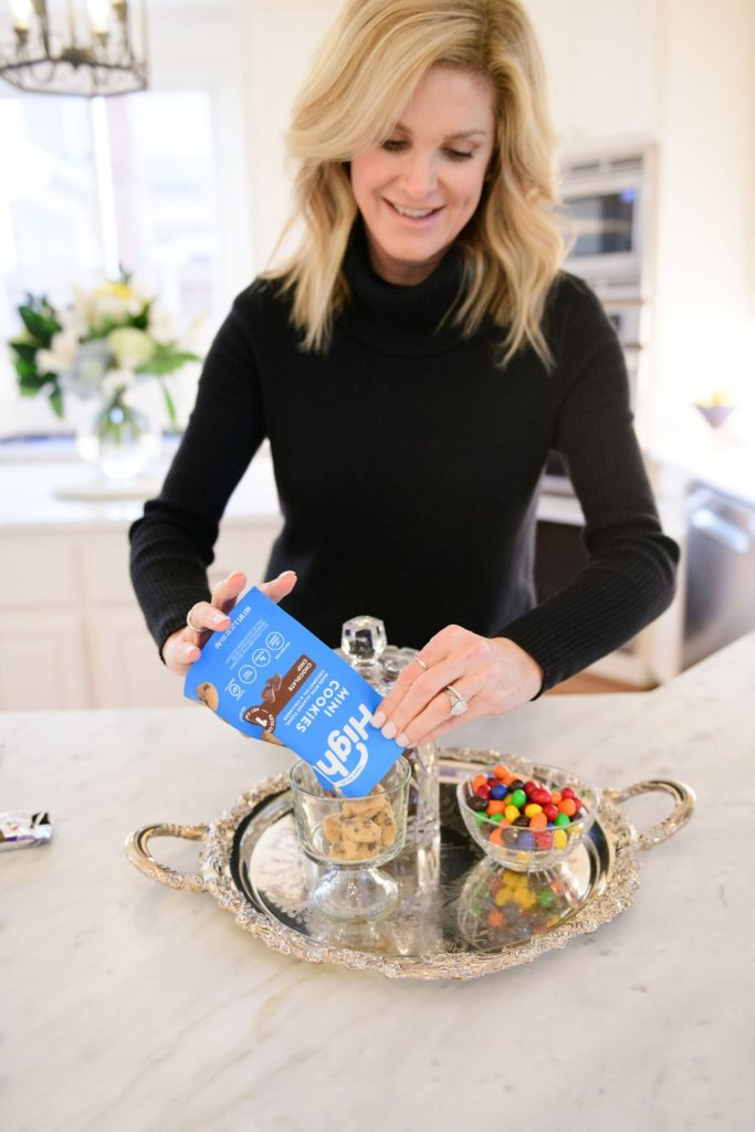 tanya foster pouring highkey chocolate chip cookies into a dish from Walmart wellness hub