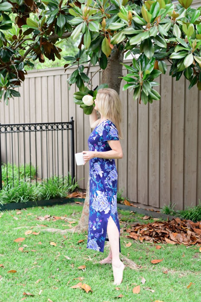 Tanya Foster standing outside in a long soma sleepshirt