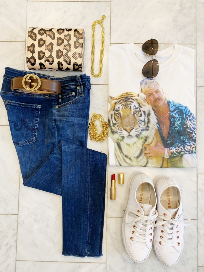 tiger king tee with Farrah ankle frayed jeans converse shoes red charlotte tilbury lipstick nest jewelry toscano clutch gucci belt and sunglasses