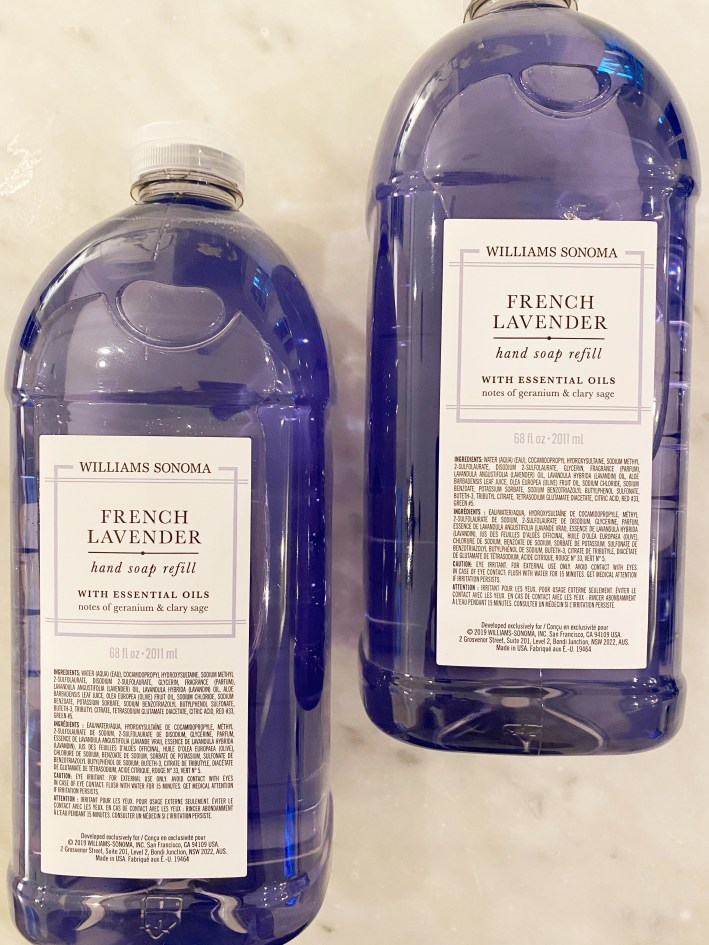 williams sonoma french lavender hand soap refill bottles
