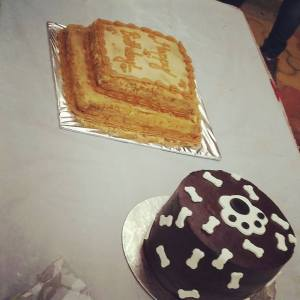 Two-teir petcake made with banana & peanut butter