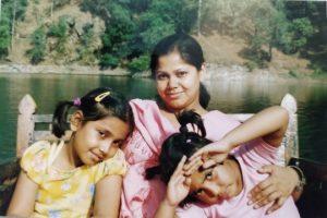 Neelanjana Chowdhury with her daughters