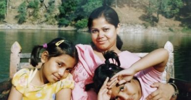 Neelanjana Chowdhury with her daughters