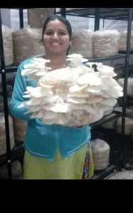 Trupti with homegrown mushrooms