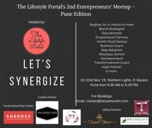Let's Synergize at The Lifestyle Portal's 2nd Entrepreneurs' Meetup in Pune.