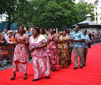 Singers from Fiji serenade the fans after welcoming their Ambassador.