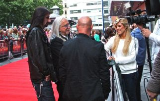 Uriah Heep being interviewed. They are touring with Quo in Europe in 2013