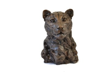 Leopard Portrait 4 - Tanya Russell Animal Sculpture