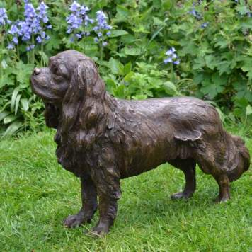 Standing Cavalier King Charles Spaniel sculpture quarter left view