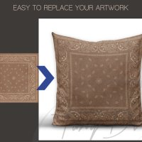 Square Pillow Cushion Mock-up Styled Product by TanyDiDesignStudio