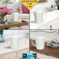 14oz Mug 14BG6 White Coffee Mug in a Living by TanyDiDesignStudio