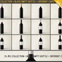 JPG Bottles C05 Single Empty Black Bottle 24 by TanyDiDesignStudio