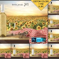 Bottle M1BG01 Wine Bottle with White Wine on by TanyDiDesignStudio
