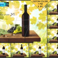 Bottle M1BG04 Wine Bottle with Red Wine on by TanyDiDesignStudio