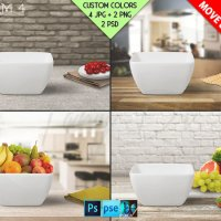 Dishware B4BG1 White Square Bowl on Kitchen by TanyDiDesignStudio