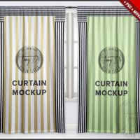 Long Curtains on Window PSD Mockup Window Area by TanyDiArtDesign