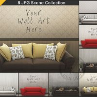 Living Room Sofa Interior Scene 8 Blank wall by TanyDiArtDesign