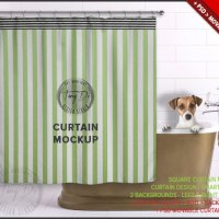 Square Bathroom Curtain PSD Styled Mockup BC4 by TanyDiArtDesign