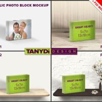Acrylic Photo Block 5x7 PSD Styled Mockup by TanyDiArtDesign