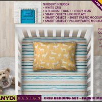 Crib Sheet and 12x18 Pillow Photoshop Styled by TanyDiArtDesign