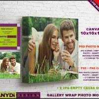 10x10 Gallery Wrap Canvas PSD Styled Mockup 1.5in Deep