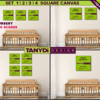 Square Canvas Photoshop Print Mockup C-N1 | Set of canvas on Nursery wall | Wood crib