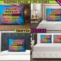 Standard Pillow-Case Photoshop Fabric Mockup M4-2026-2 | Sleeping Pillow 20x26 on a bed | 4 Styled JPG Scenes | Set of 2 Pillows