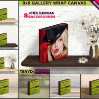 8x8 Gallery Wrap Movable Photo Canvas Photoshop Print Mockup C88-15 | 1.5in Deep | Blank Square Photo Canvas on Wood shelf