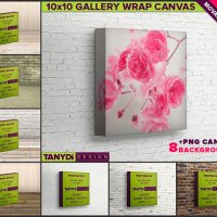 10x10 Gallery Wrap Movable Photo Canvas Photoshop Print Mockup C1010-15 | 1.5in Deep | Blank Square Photo Canvas on Brick Wall & Table