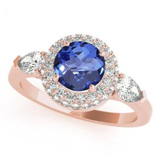 0.78 Carat Round Tanzanite Ring in 14k Rose Gold