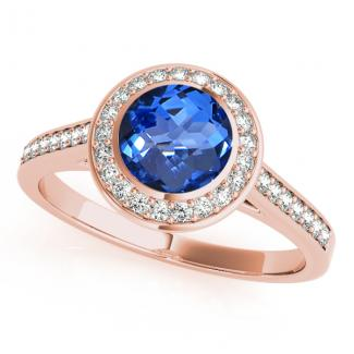 Round Tanzanite Engagement Ring in 14k Rose Gold