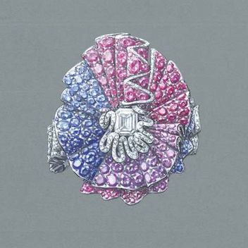 Diamond blue pink Ring