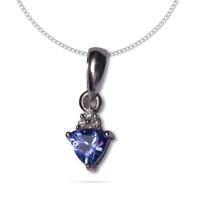 Trillion Tanzanite Pendant in silver