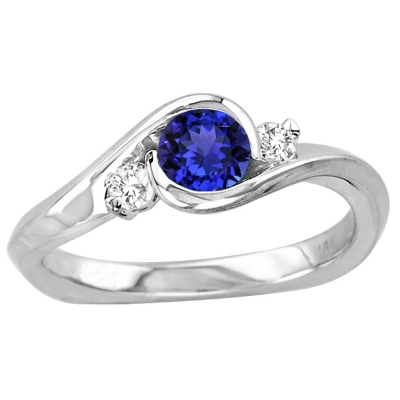 Round Tanzanite Ring in 14k White Gold